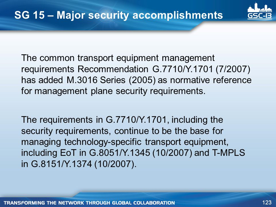 SG 15 – Major security accomplishments