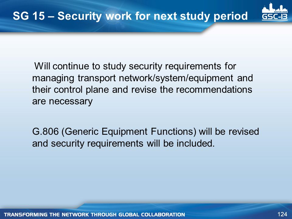 SG 15 – Security work for next study period