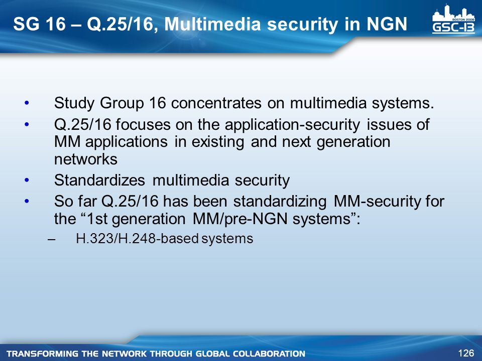 SG 16 – Q.25/16, Multimedia security in NGN