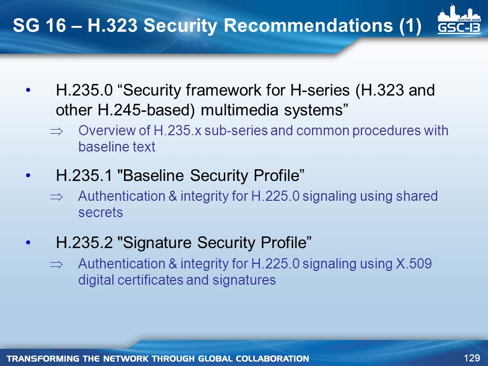 SG 16 – H.323 Security Recommendations (1)