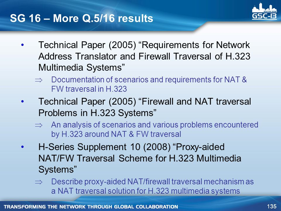 SG 16 – More Q.5/16 results Technical Paper (2005) Requirements for Network Address Translator and Firewall Traversal of H.323 Multimedia Systems