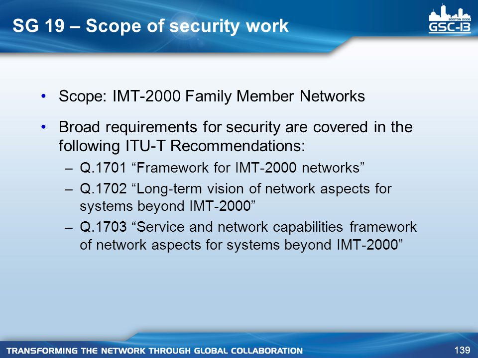 SG 19 – Scope of security work