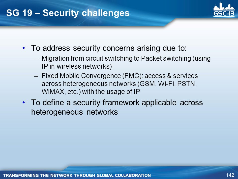 SG 19 – Security challenges