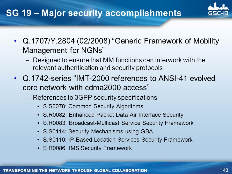 SG 19 – Major security accomplishments
