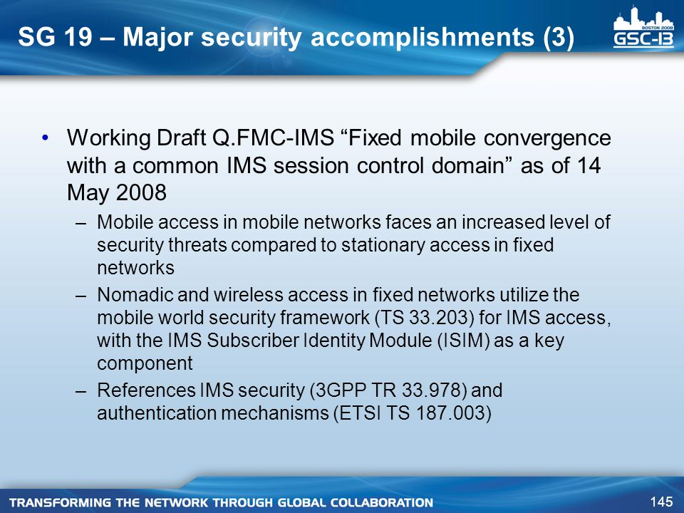 SG 19 – Major security accomplishments (3)