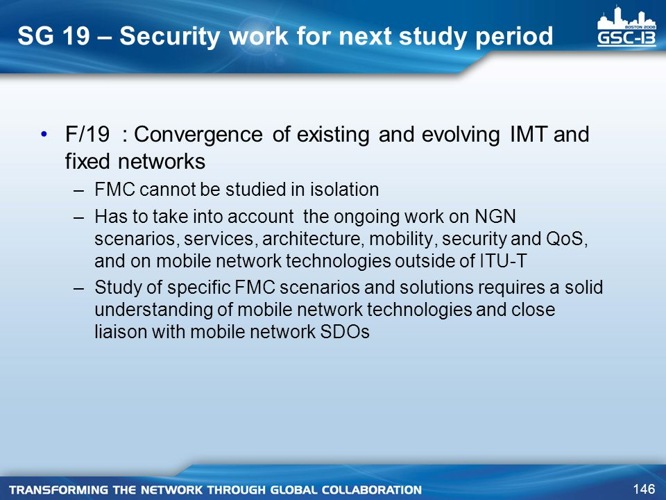 SG 19 – Security work for next study period