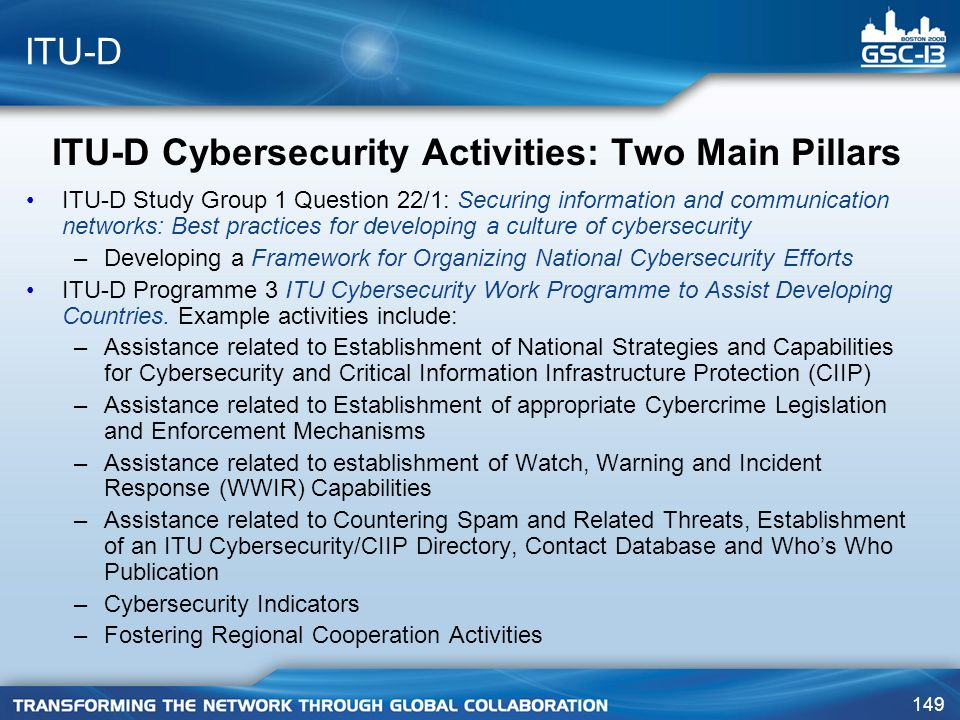 ITU-D Cybersecurity Activities: Two Main Pillars