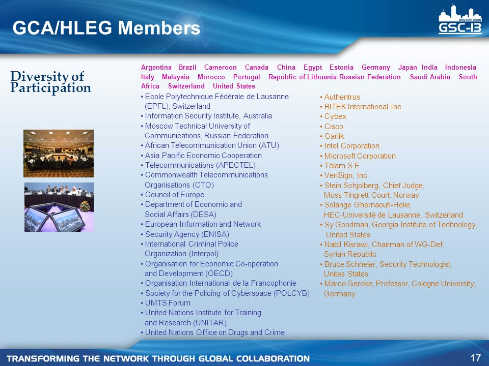 GCA/HLEG Members Diversity of Participation