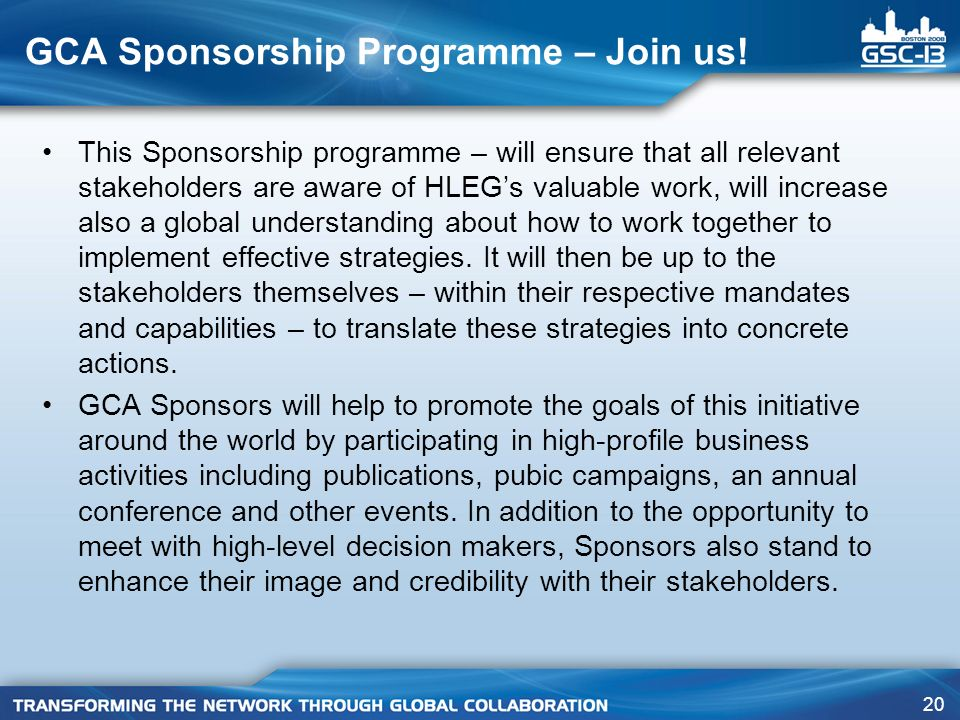 GCA Sponsorship Programme – Join us!