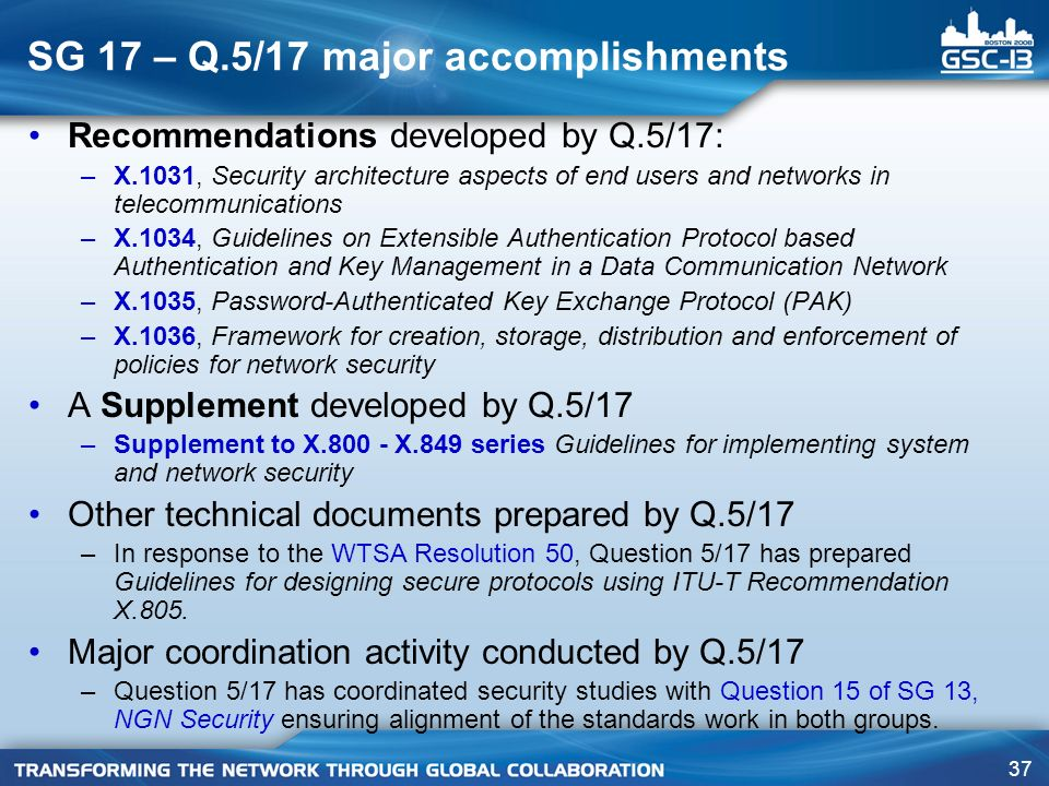 SG 17 – Q.5/17 major accomplishments