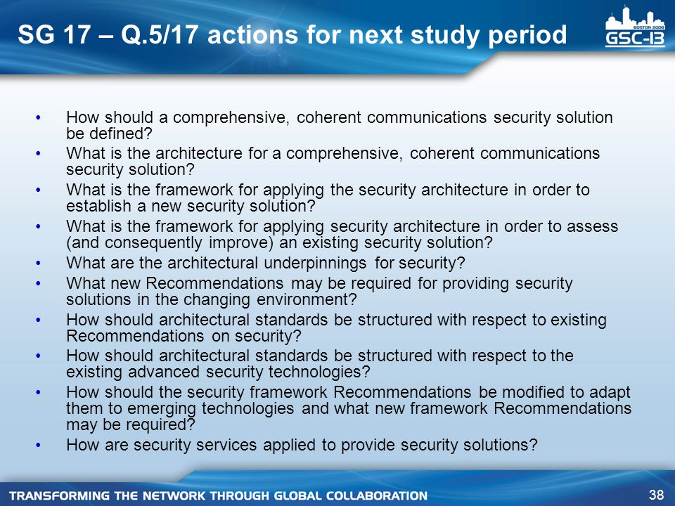 SG 17 – Q.5/17 actions for next study period