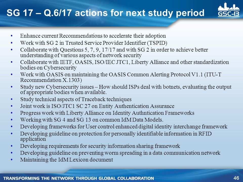 SG 17 – Q.6/17 actions for next study period