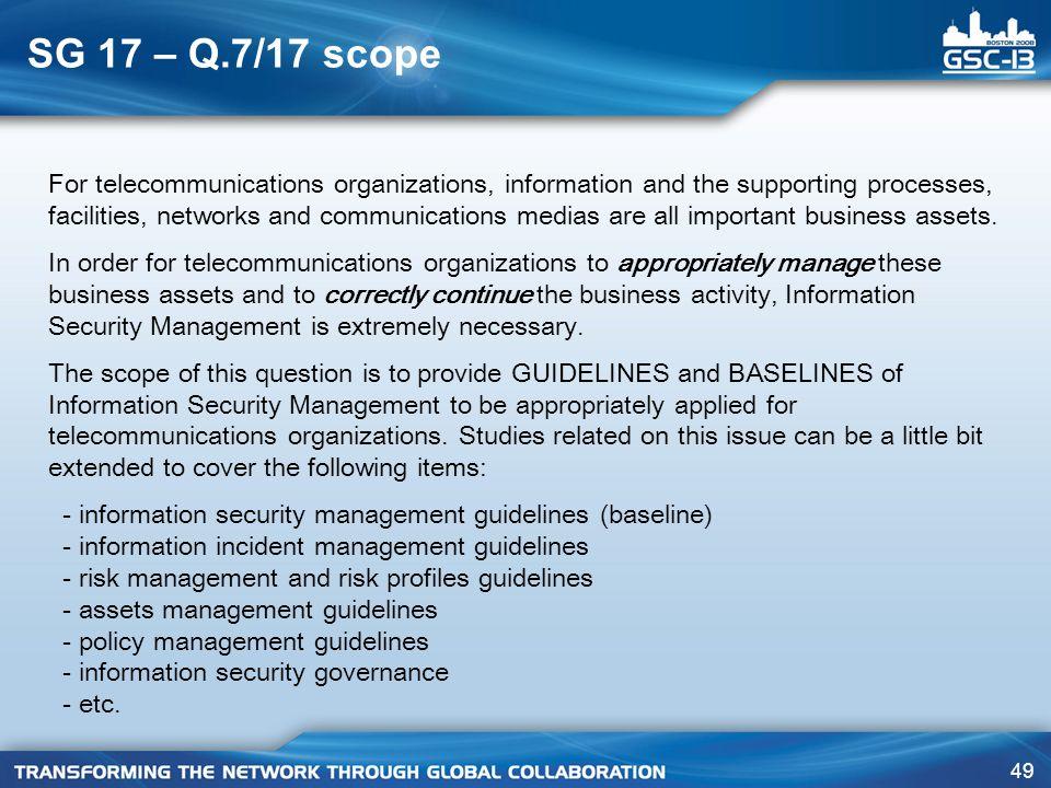 SG 17 – Q.7/17 scope