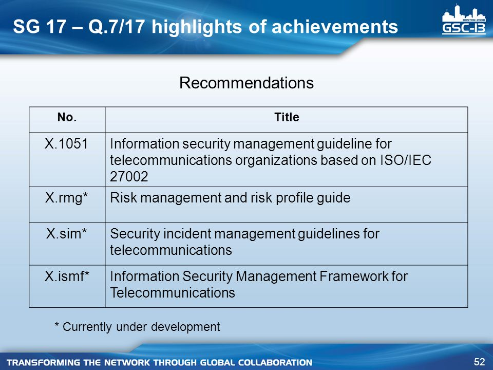SG 17 – Q.7/17 highlights of achievements