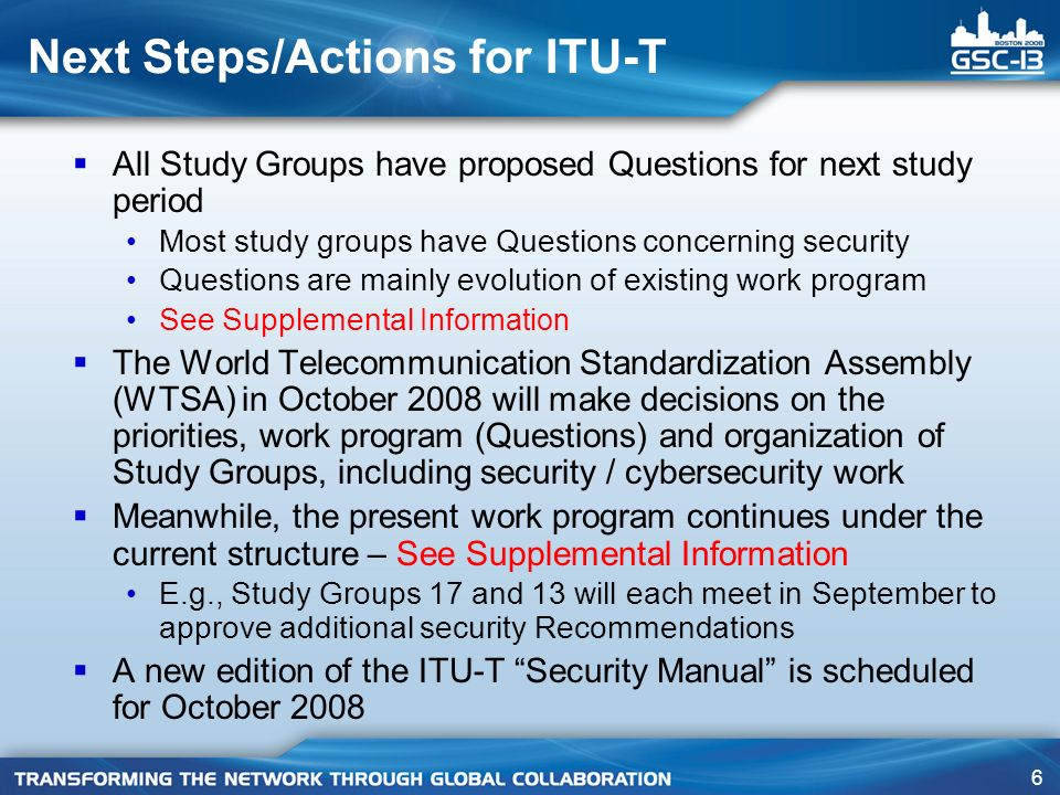 Next Steps/Actions for ITU-T