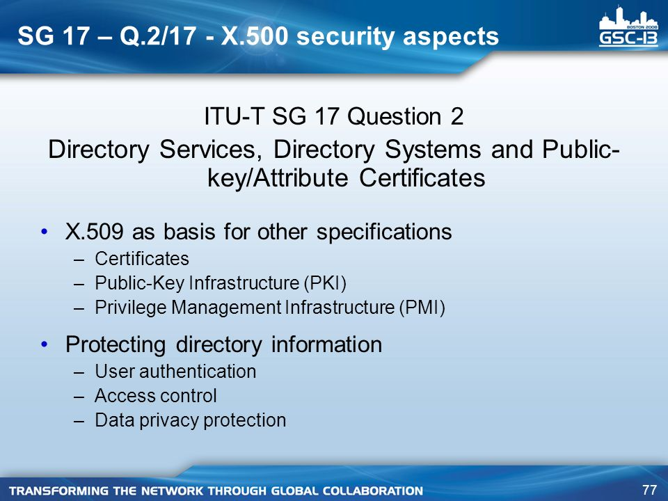 SG 17 – Q.2/17 - X.500 security aspects
