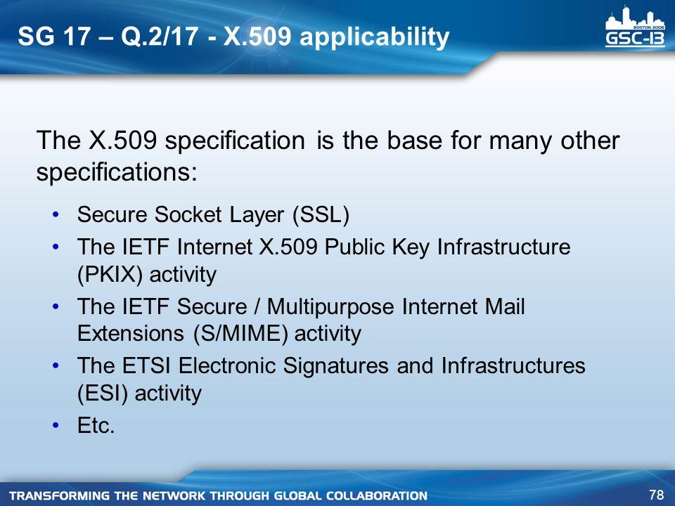 SG 17 – Q.2/17 - X.509 applicability