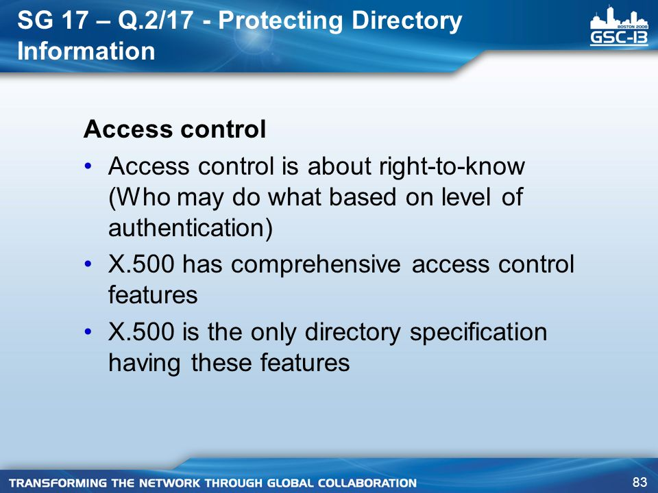 SG 17 – Q.2/17 - Protecting Directory Information