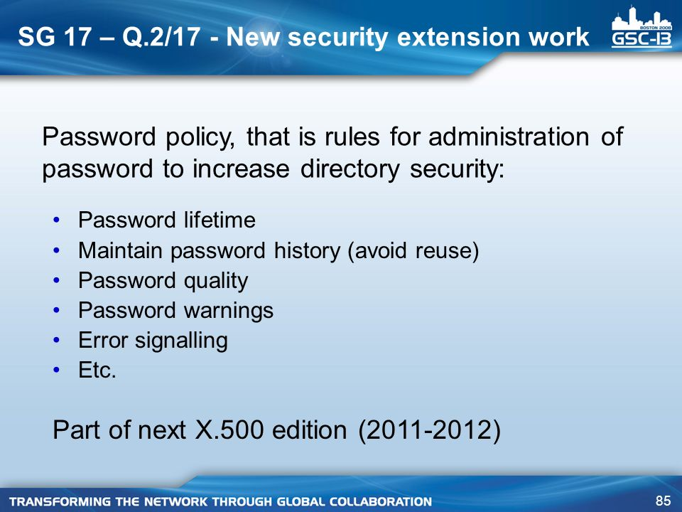 SG 17 – Q.2/17 - New security extension work