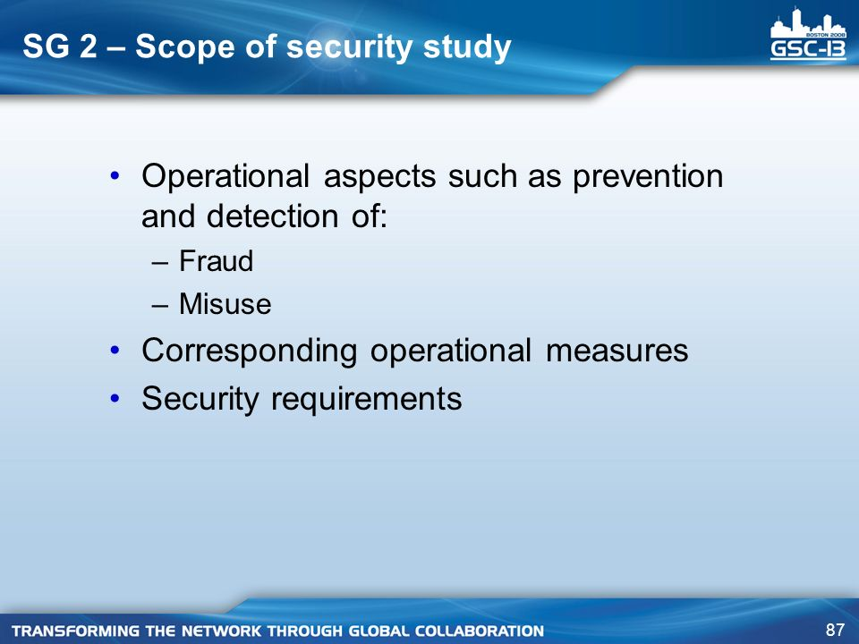 SG 2 – Scope of security study