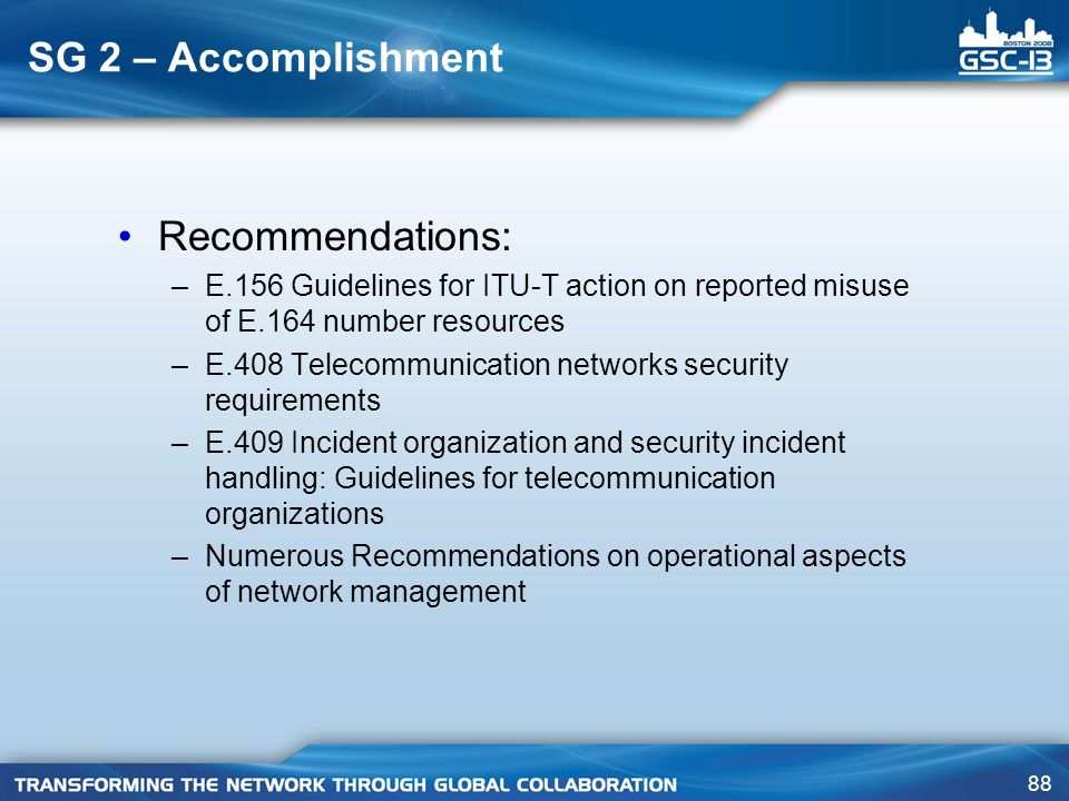 SG 2 – Accomplishment Recommendations: