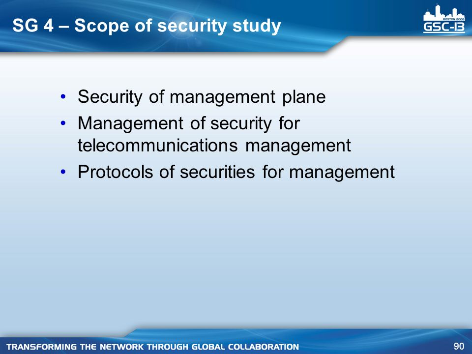 SG 4 – Scope of security study
