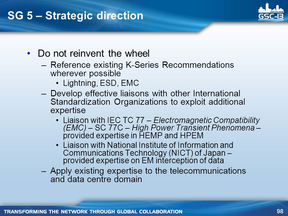 SG 5 – Strategic direction