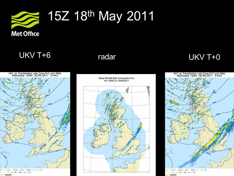 15Z 18th May 2011 UKV T+6 radar UKV T+0
