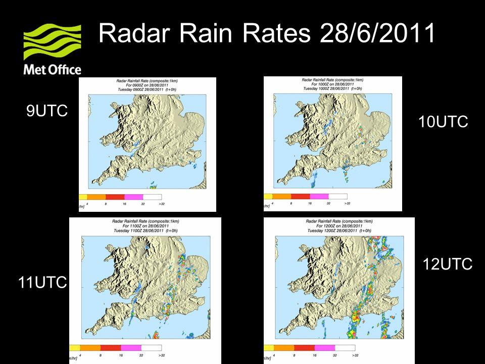 Radar Rain Rates 28/6/2011 9UTC 10UTC 12UTC 11UTC