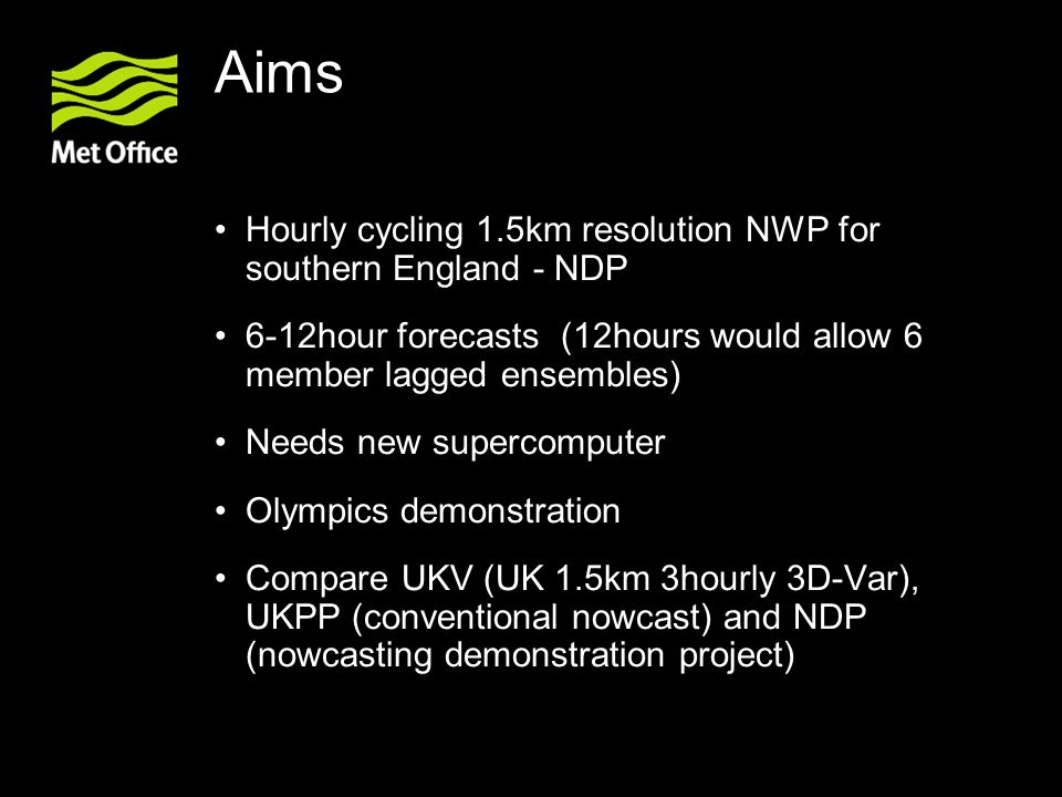 Aims Hourly cycling 1.5km resolution NWP for southern England - NDP