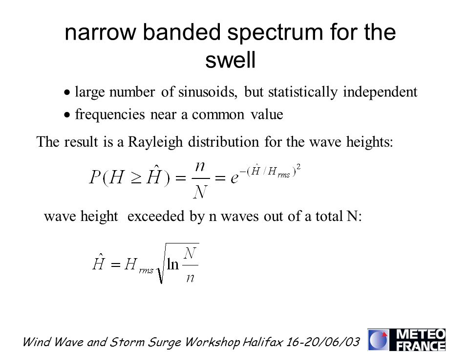 narrow banded spectrum for the swell
