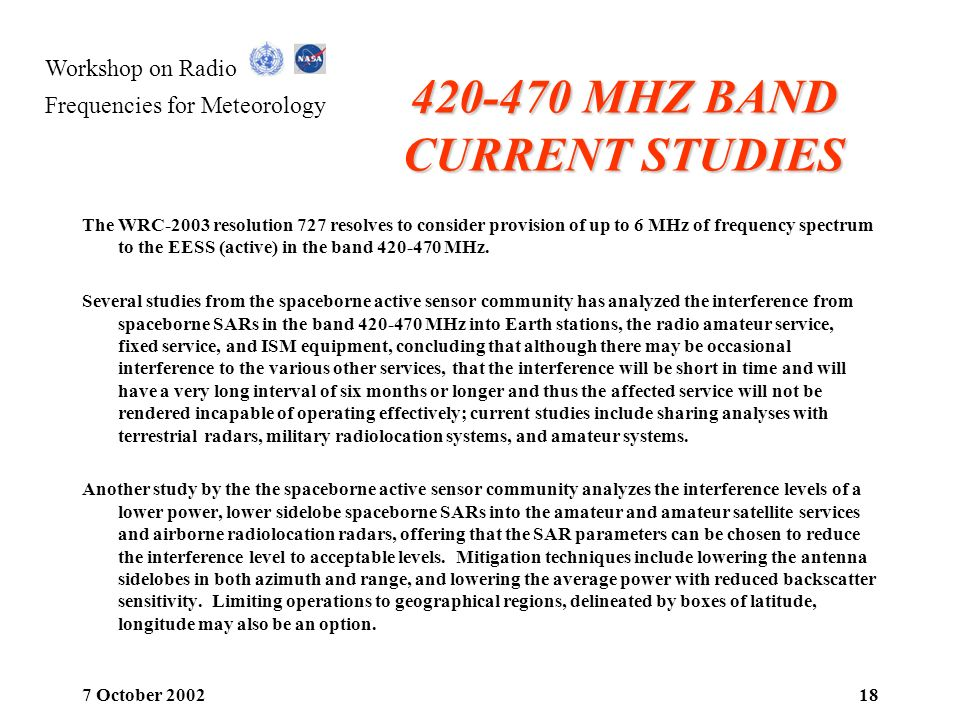 420-470 MHZ BAND CURRENT STUDIES