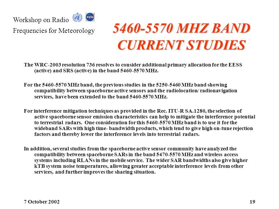 5460-5570 MHZ BAND CURRENT STUDIES