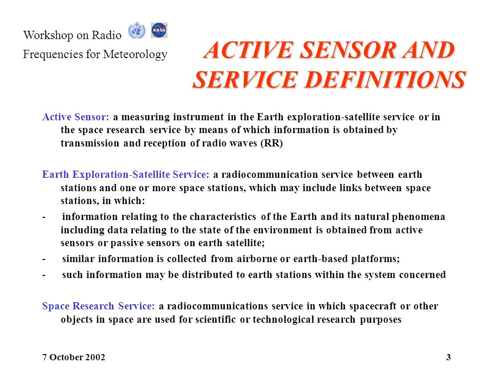 ACTIVE SENSOR AND SERVICE DEFINITIONS