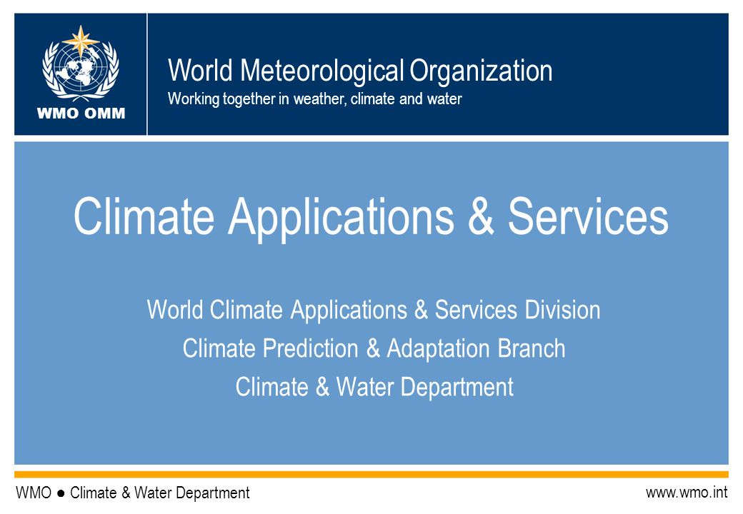 Climate Applications & Services