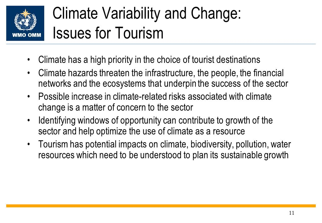 Climate Variability and Change: Issues for Tourism