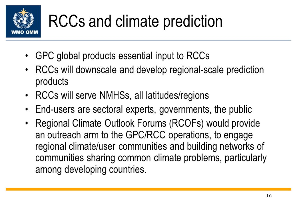 RCCs and climate prediction