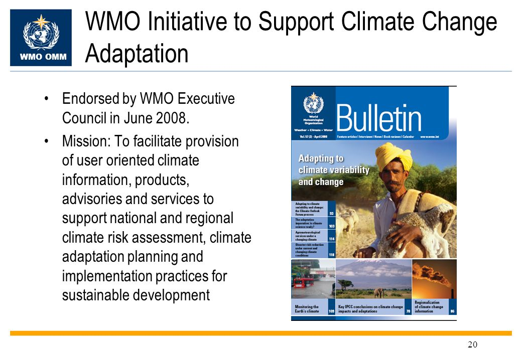 WMO Initiative to Support Climate Change Adaptation