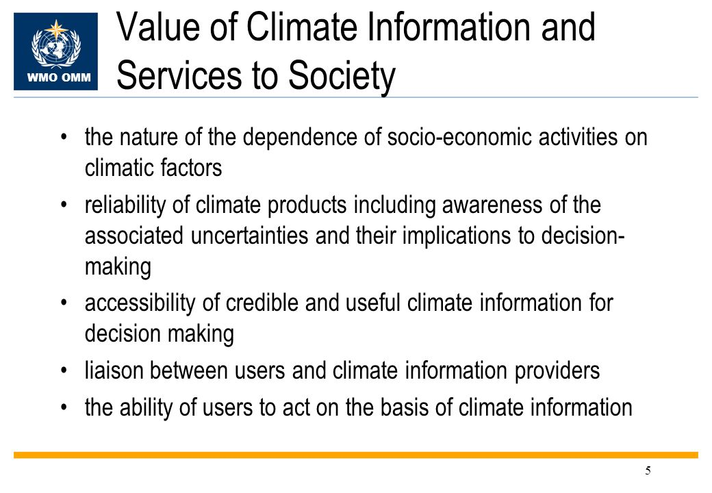Value of Climate Information and Services to Society