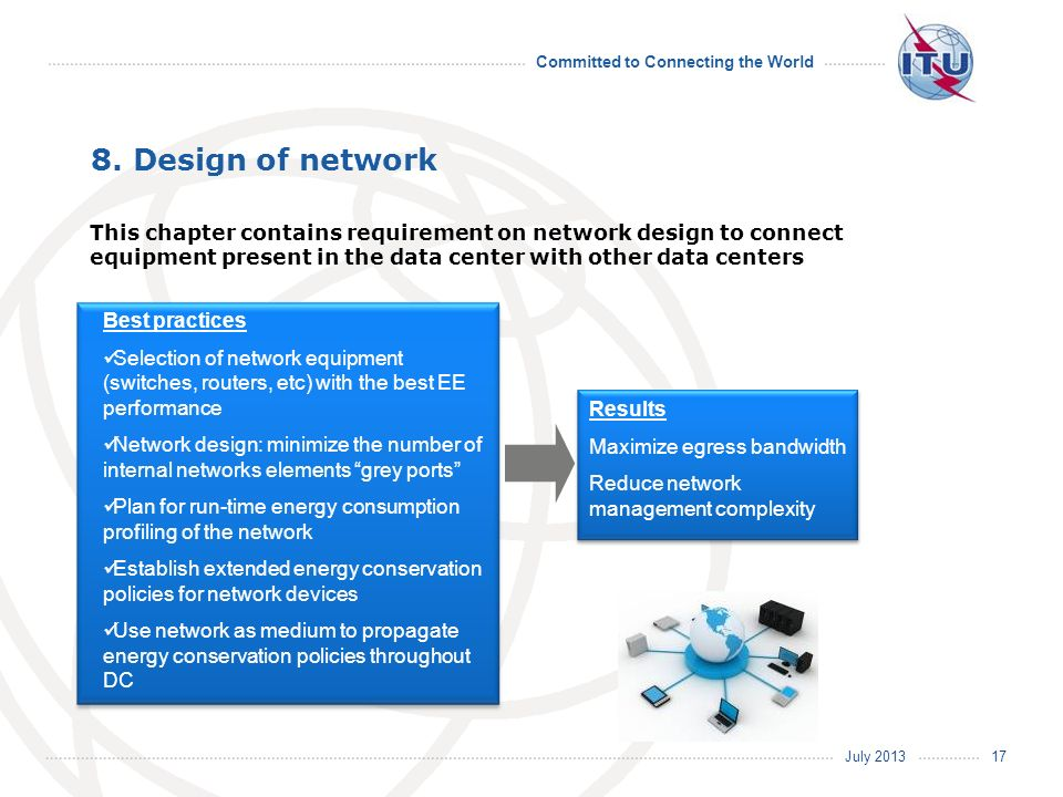 8. Design of network This chapter contains requirement on network design to connect equipment present in the data center with other data centers.