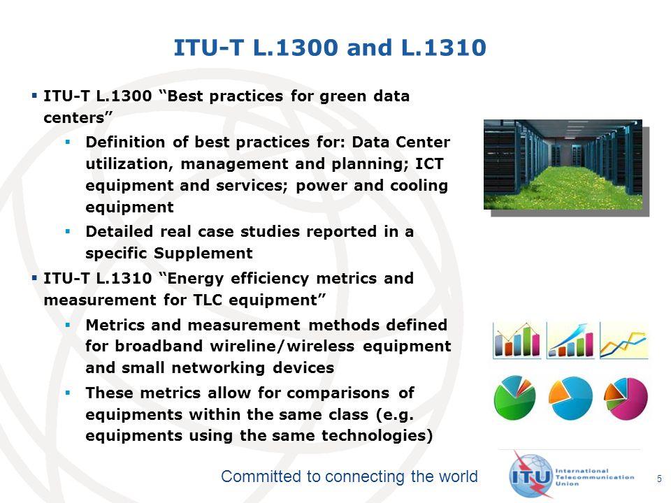 ITU-T L.1300 and L.1310 ITU-T L.1300 Best practices for green data centers