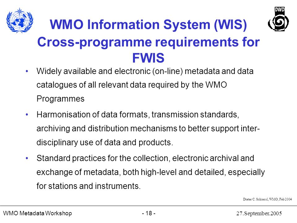 Cross-programme requirements for FWIS