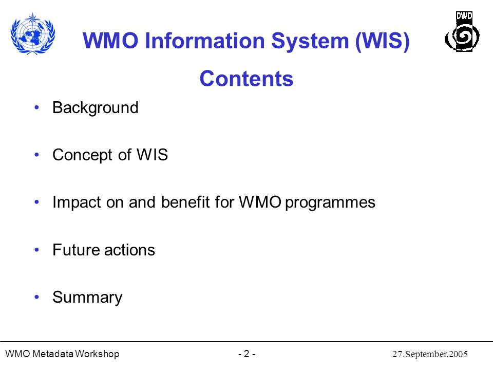 Contents Background Concept of WIS