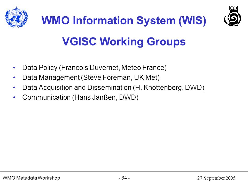 VGISC Working Groups Data Policy (Francois Duvernet, Meteo France)