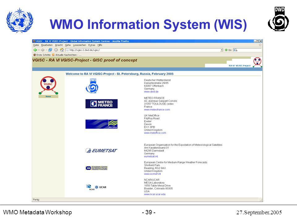 WMO Metadata Workshop 27.September.2005