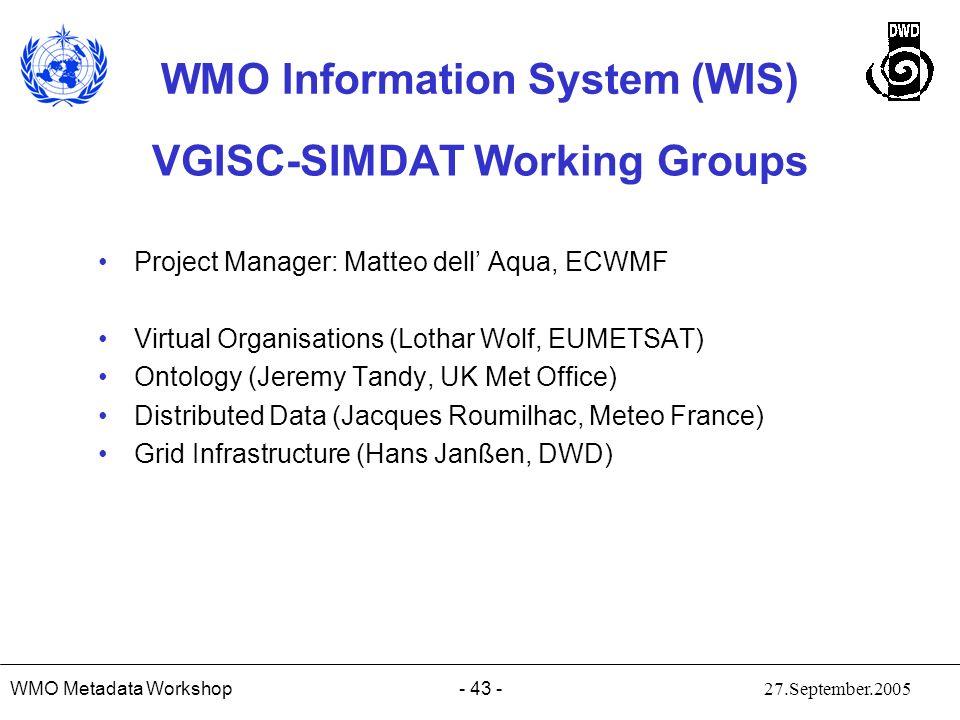 VGISC-SIMDAT Working Groups