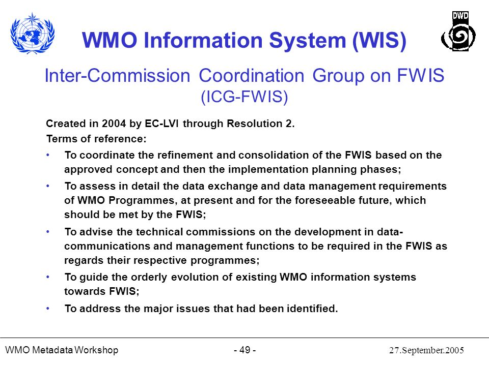 Inter-Commission Coordination Group on FWIS (ICG-FWIS)