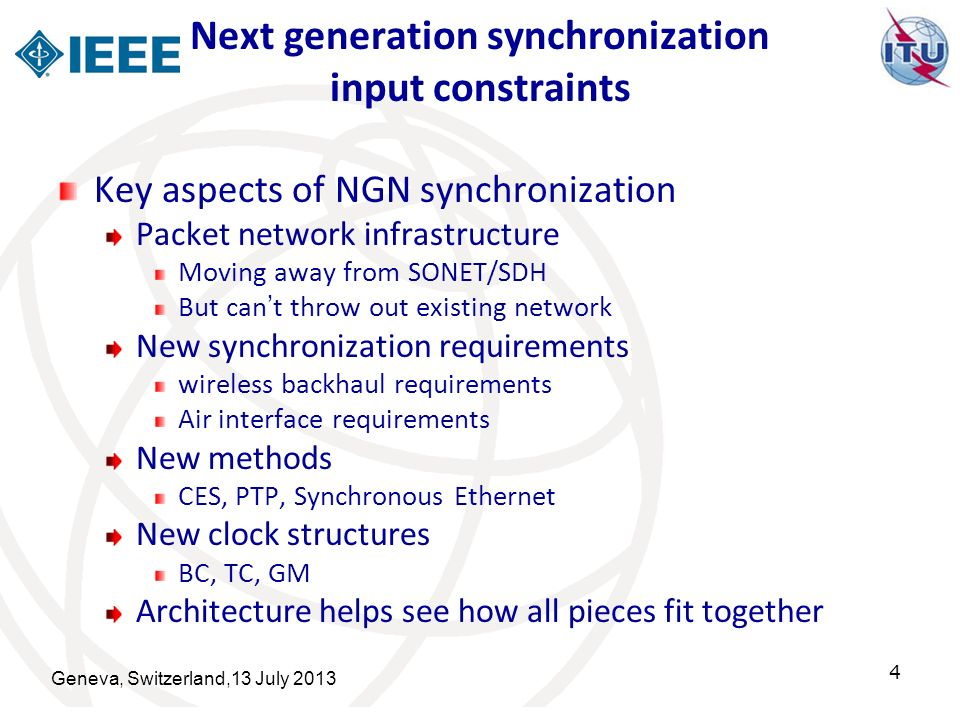 Next generation synchronization input constraints