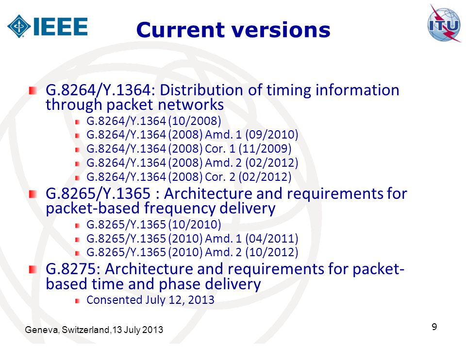 Current versions G.8264/Y.1364: Distribution of timing information through packet networks. G.8264/Y.1364 (10/2008)