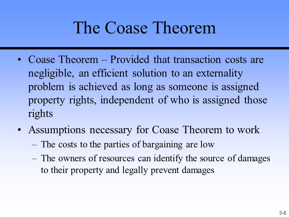 the coase theorem Article information comments (0)abstract some economists think the coase theorem implies a lot about the proper scope of government intervention in the economy and about the welfare consequences of laissez-faire.